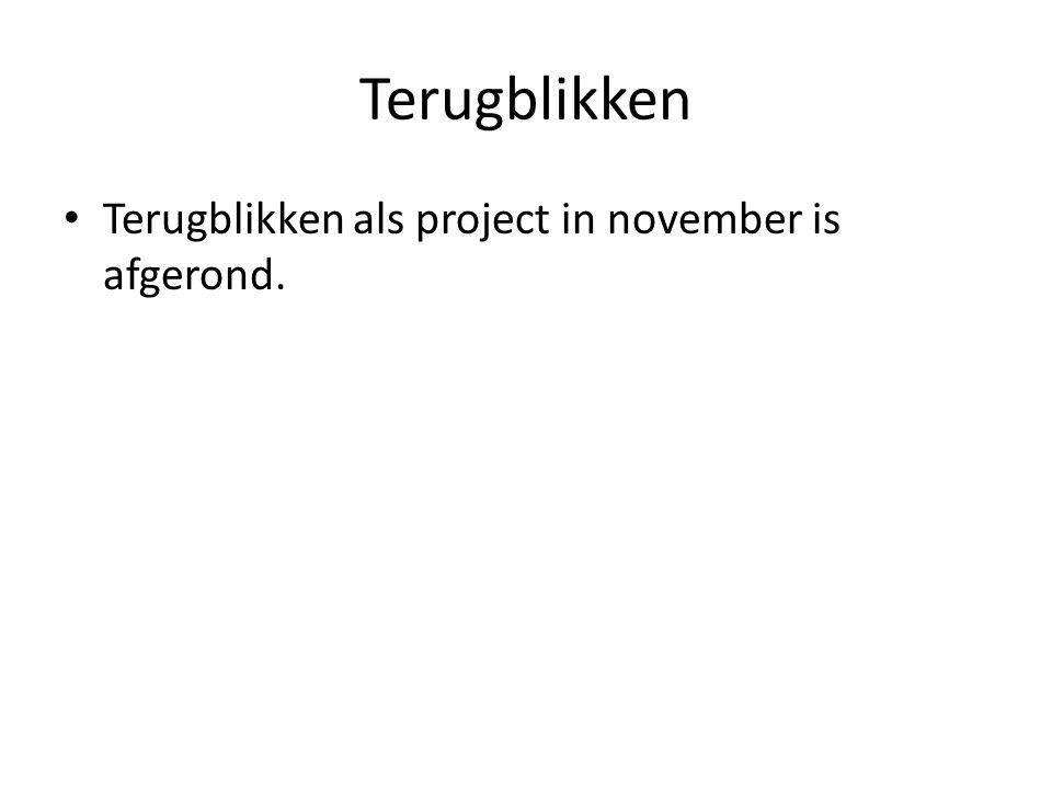 Terugblikken Terugblikken als project in november is afgerond.