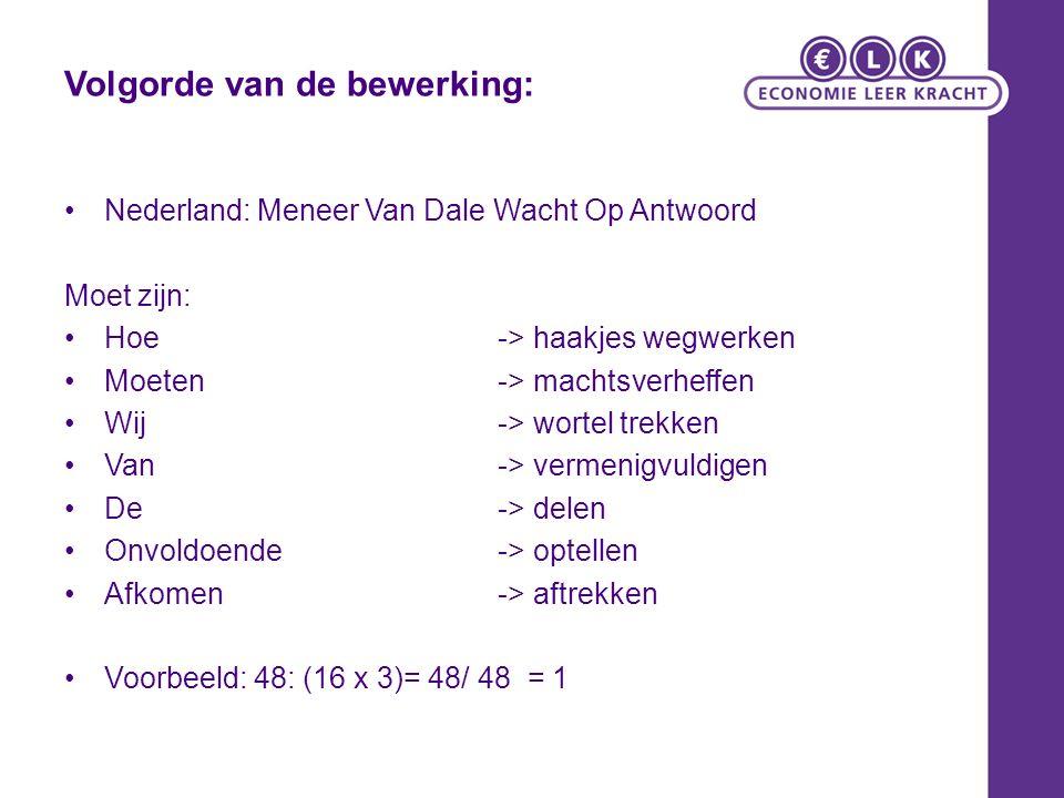 Volgorde van de bewerking: Nederland: Meneer Van Dale Wacht Op Antwoord Moet zijn: Hoe -> haakjes wegwerken Moeten -> machtsverheffen Wij -> wortel tr