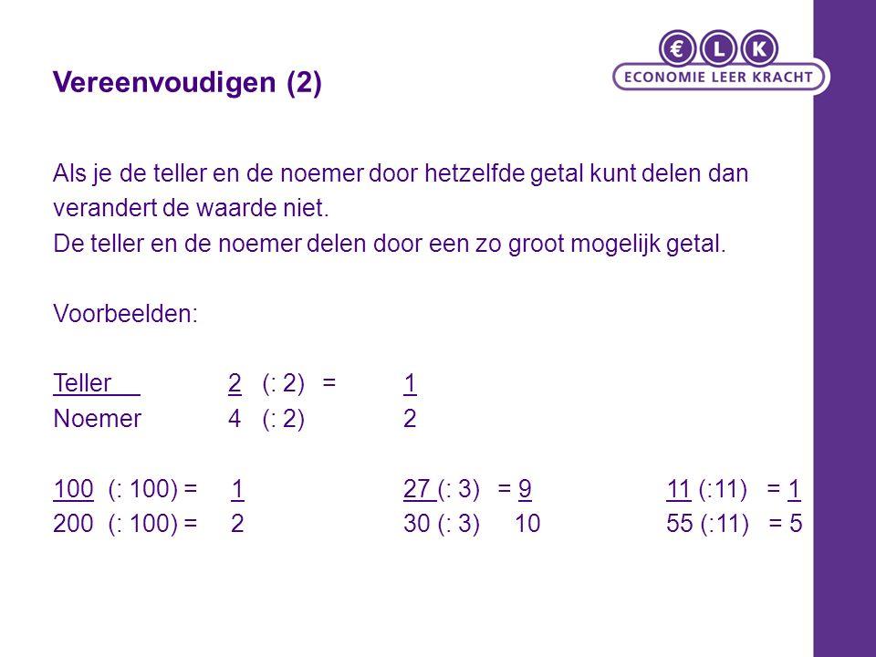 Vereenvoudigen (2) Als je de teller en de noemer door hetzelfde getal kunt delen dan verandert de waarde niet. De teller en de noemer delen door een z