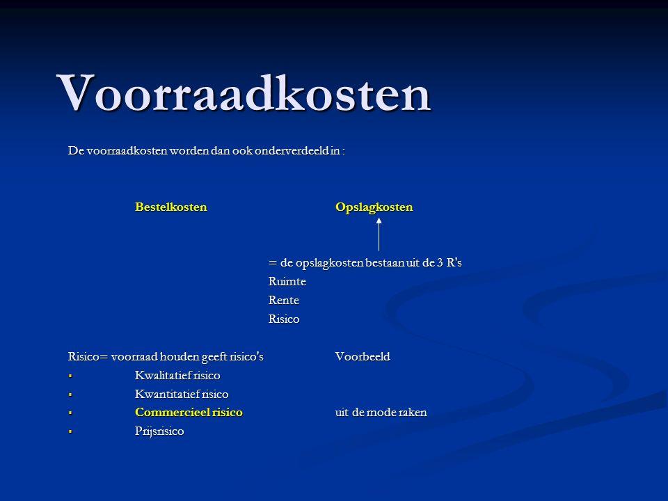 Voorraadkosten De voorraadkosten worden dan ook onderverdeeld in : BestelkostenOpslagkosten = de opslagkosten bestaan uit de 3 R's RuimteRenteRisico R