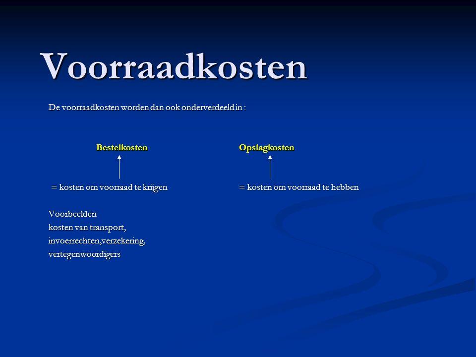 Voorraadkosten De voorraadkosten worden dan ook onderverdeeld in : BestelkostenOpslagkosten = kosten om voorraad te krijgen= kosten om voorraad te heb