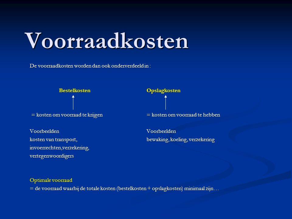 Voorraadkosten De voorraadkosten worden dan ook onderverdeeld in : BestelkostenOpslagkosten = de opslagkosten bestaan uit de 3 R s