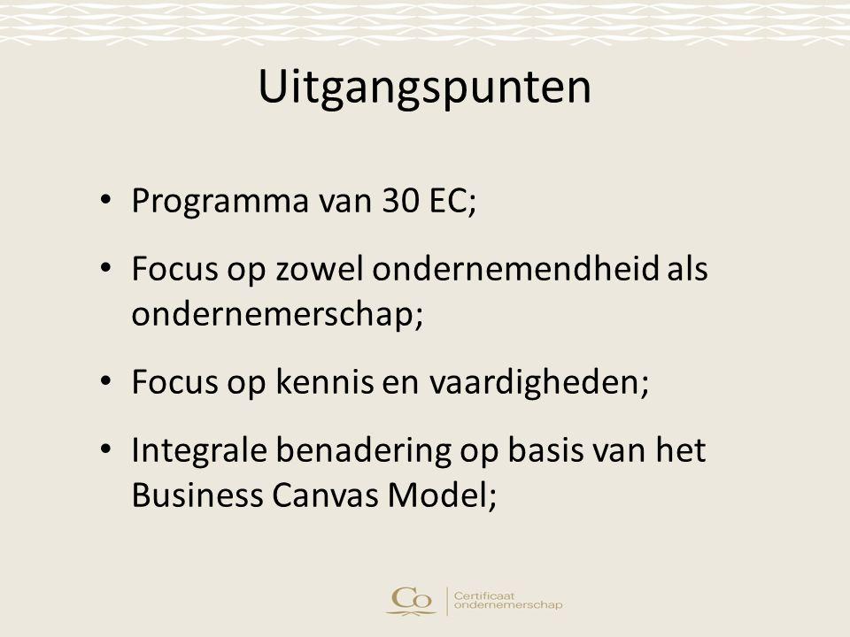 Uitgangspunten Programma van 30 EC; Focus op zowel ondernemendheid als ondernemerschap; Focus op kennis en vaardigheden; Integrale benadering op basis van het Business Canvas Model;