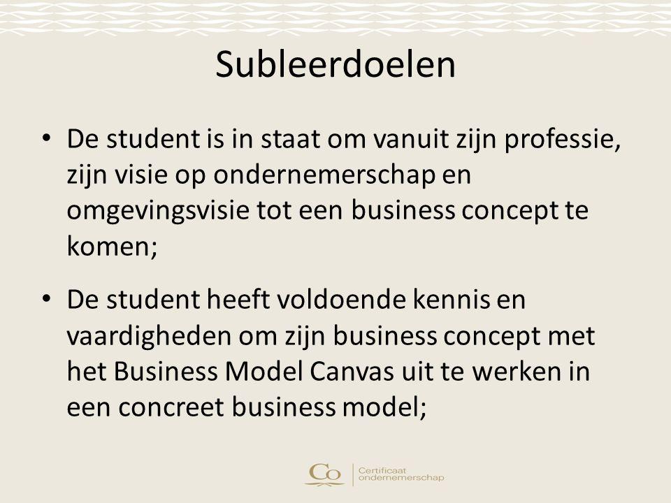 Subleerdoelen De student is in staat om vanuit zijn professie, zijn visie op ondernemerschap en omgevingsvisie tot een business concept te komen; De student heeft voldoende kennis en vaardigheden om zijn business concept met het Business Model Canvas uit te werken in een concreet business model;