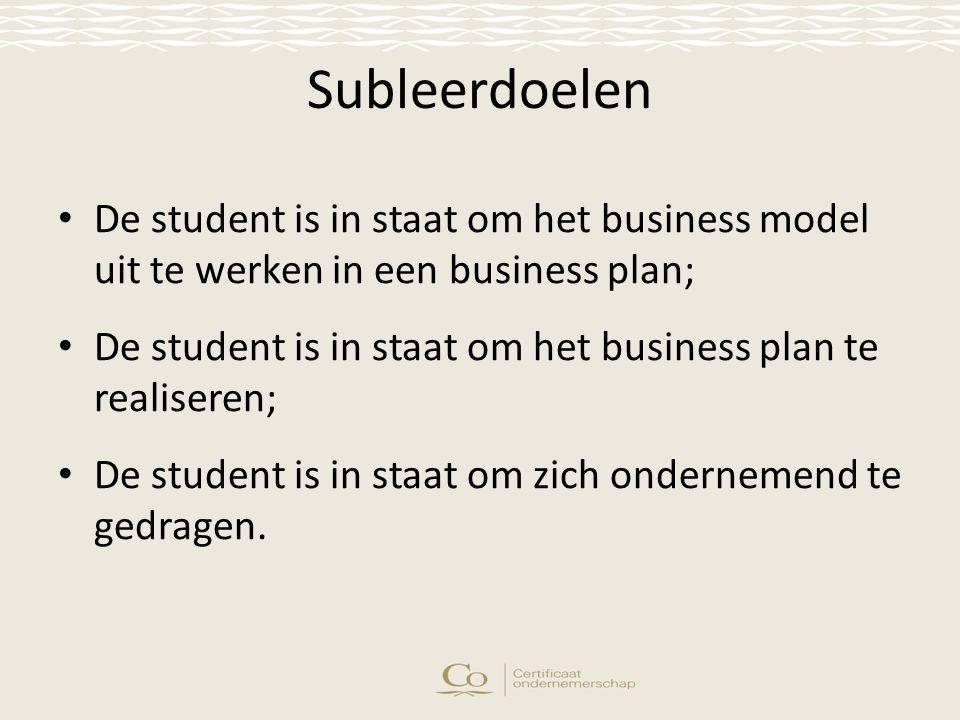 Subleerdoelen De student is in staat om het business model uit te werken in een business plan; De student is in staat om het business plan te realiseren; De student is in staat om zich ondernemend te gedragen.