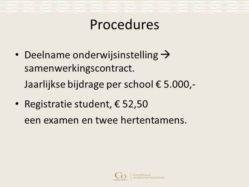 Procedures Deelname onderwijsinstelling  samenwerkingscontract.