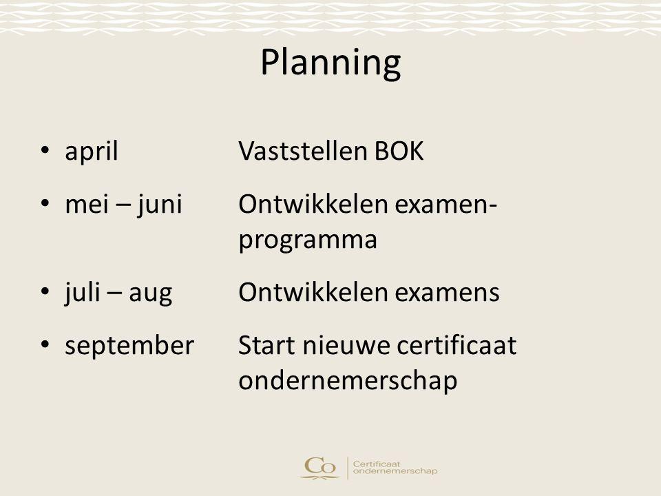 Planning aprilVaststellen BOK mei – juniOntwikkelen examen- programma juli – augOntwikkelen examens septemberStart nieuwe certificaat ondernemerschap
