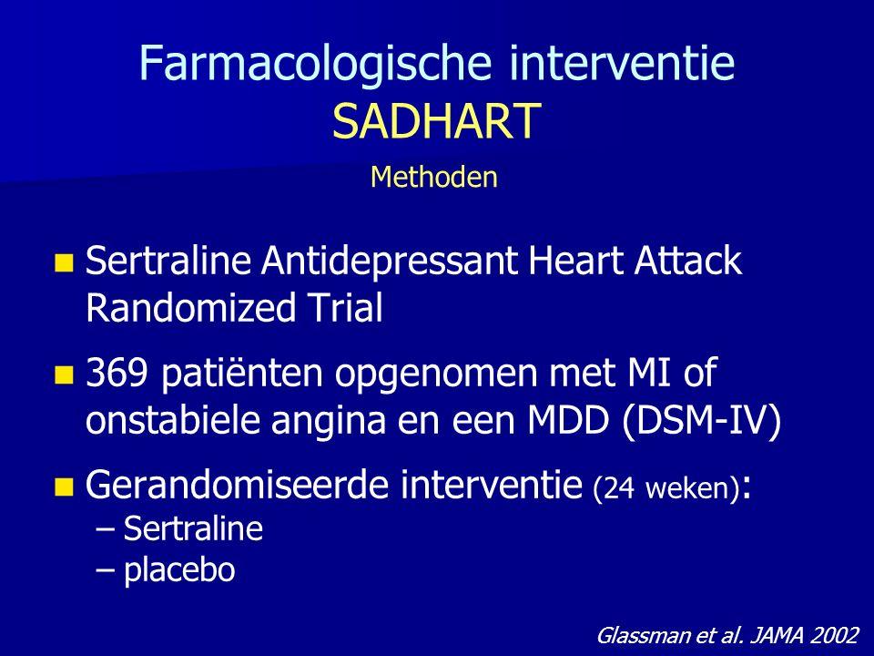 Farmacologische interventie SADHART Sertraline Antidepressant Heart Attack Randomized Trial 369 patiënten opgenomen met MI of onstabiele angina en een MDD (DSM-IV) Gerandomiseerde interventie (24 weken) : – –Sertraline – –placebo Methoden Glassman et al.
