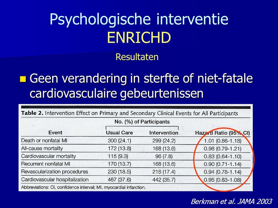 Psychologische interventie ENRICHD Resultaten Geen verandering in sterfte of niet-fatale cardiovasculaire gebeurtenissen Geen verandering in sterfte of niet-fatale cardiovasculaire gebeurtenissen Berkman et al.