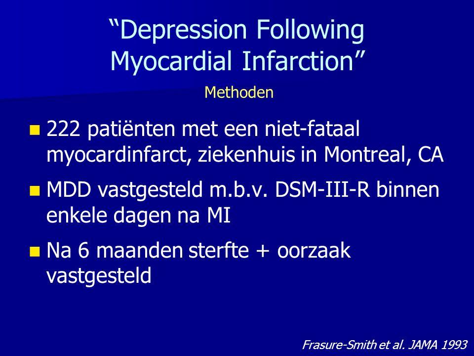 Depression Following Myocardial Infarction 222 patiënten met een niet-fataal myocardinfarct, ziekenhuis in Montreal, CA MDD vastgesteld m.b.v.