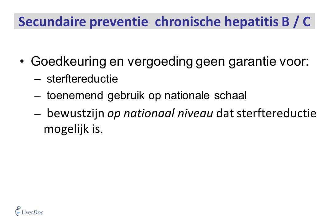 Secundaire preventie chronische hepatitis B / C Goedkeuring en vergoeding geen garantie voor: – sterftereductie – toenemend gebruik op nationale schaal – bewustzijn op nationaal niveau dat sterftereductie mogelijk is.