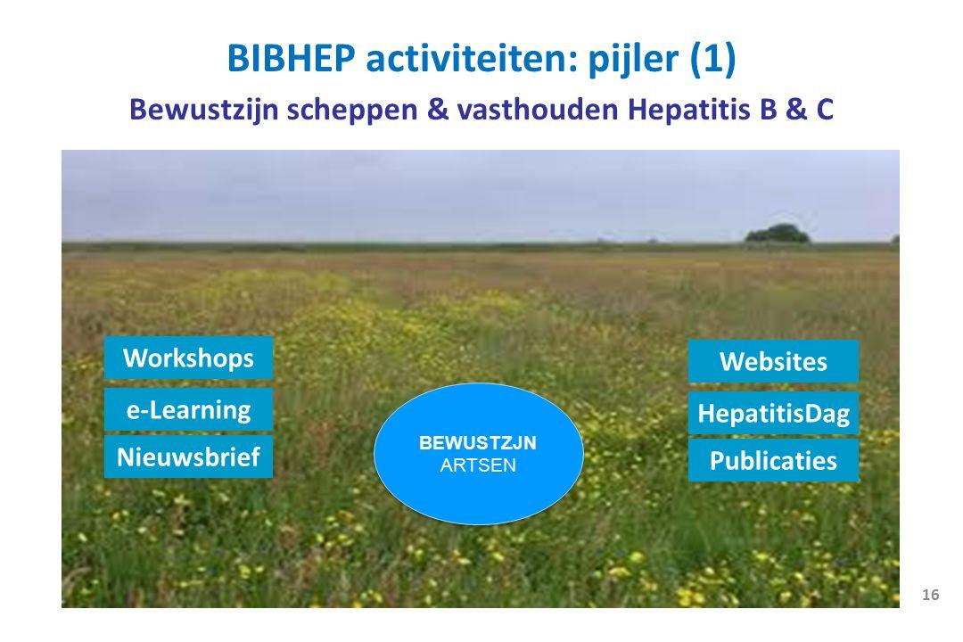 BEWUSTZJN ARTSEN BEWUSTZJN ARTSEN Bewustzijn scheppen & vasthouden Hepatitis B & C 16 BIBHEP activiteiten: pijler (1) Workshops e-Learning Nieuwsbrief Websites HepatitisDag Publicaties