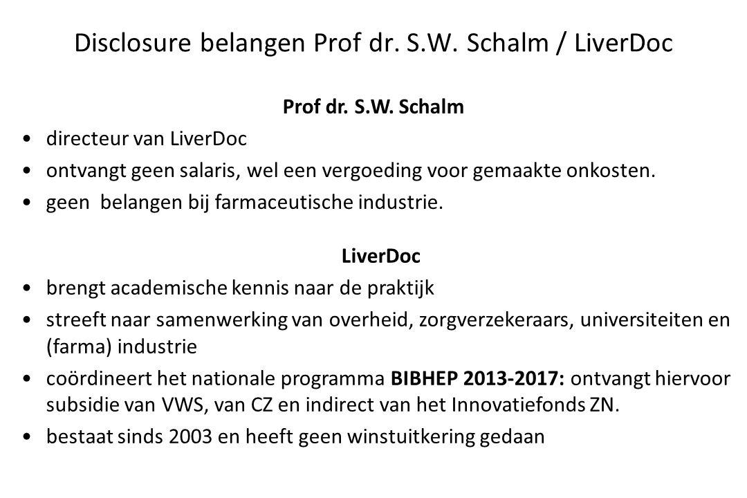 Disclosure belangen Prof dr. S.W. Schalm / LiverDoc Prof dr. S.W. Schalm directeur van LiverDoc ontvangt geen salaris, wel een vergoeding voor gemaakt