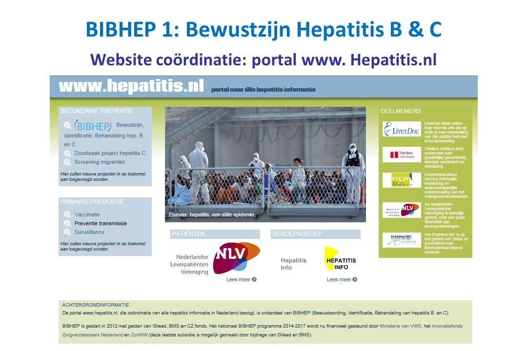 Website coördinatie: portal www. Hepatitis.nl BIBHEP 1: Bewustzijn Hepatitis B & C