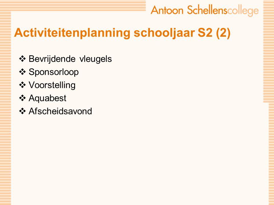 Activiteitenplanning schooljaar S2 (2)  Bevrijdende vleugels  Sponsorloop  Voorstelling  Aquabest  Afscheidsavond