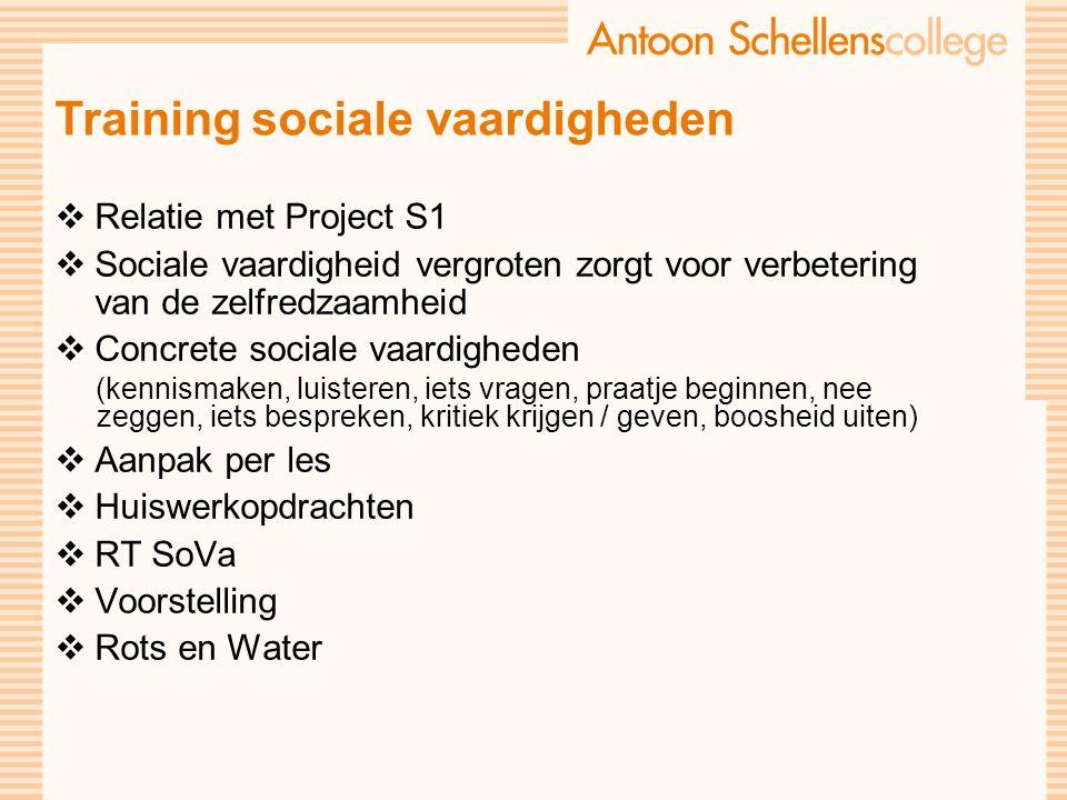 Training sociale vaardigheden  Relatie met Project S1  Sociale vaardigheid vergroten zorgt voor verbetering van de zelfredzaamheid  Concrete sociale vaardigheden (kennismaken, luisteren, iets vragen, praatje beginnen, nee zeggen, iets bespreken, kritiek krijgen / geven, boosheid uiten)  Aanpak per les  Huiswerkopdrachten  RT SoVa  Voorstelling  Rots en Water