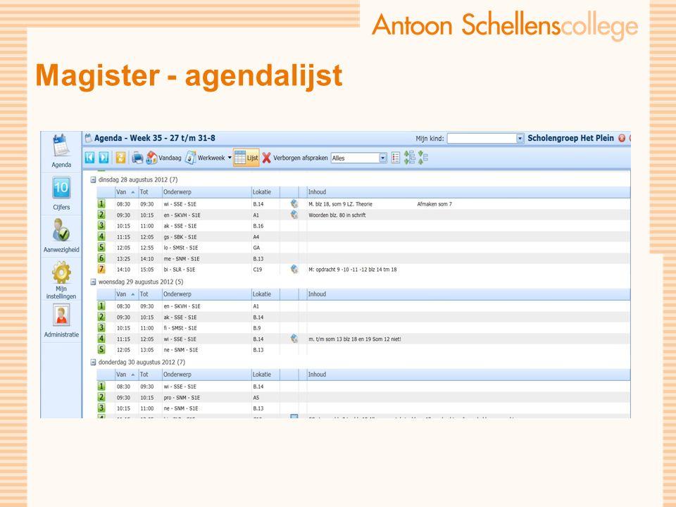 Magister - agendalijst