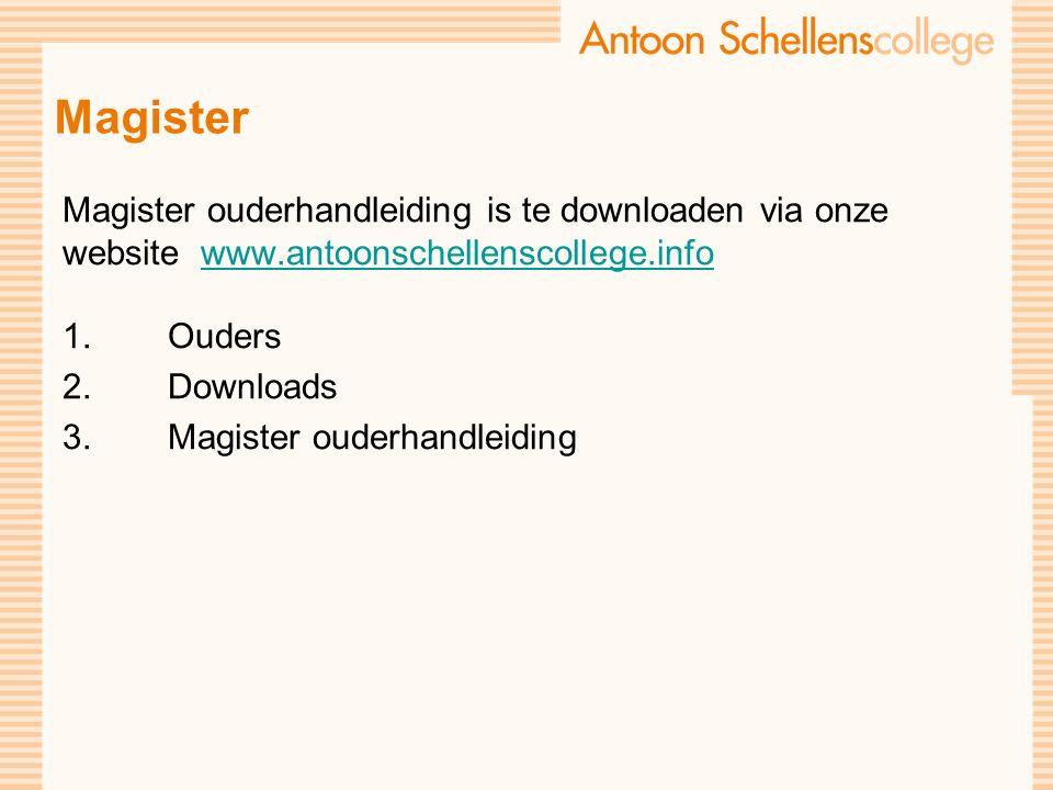 Magister Magister ouderhandleiding is te downloaden via onze website www.antoonschellenscollege.infowww.antoonschellenscollege.info 1.Ouders 2.Downloads 3.