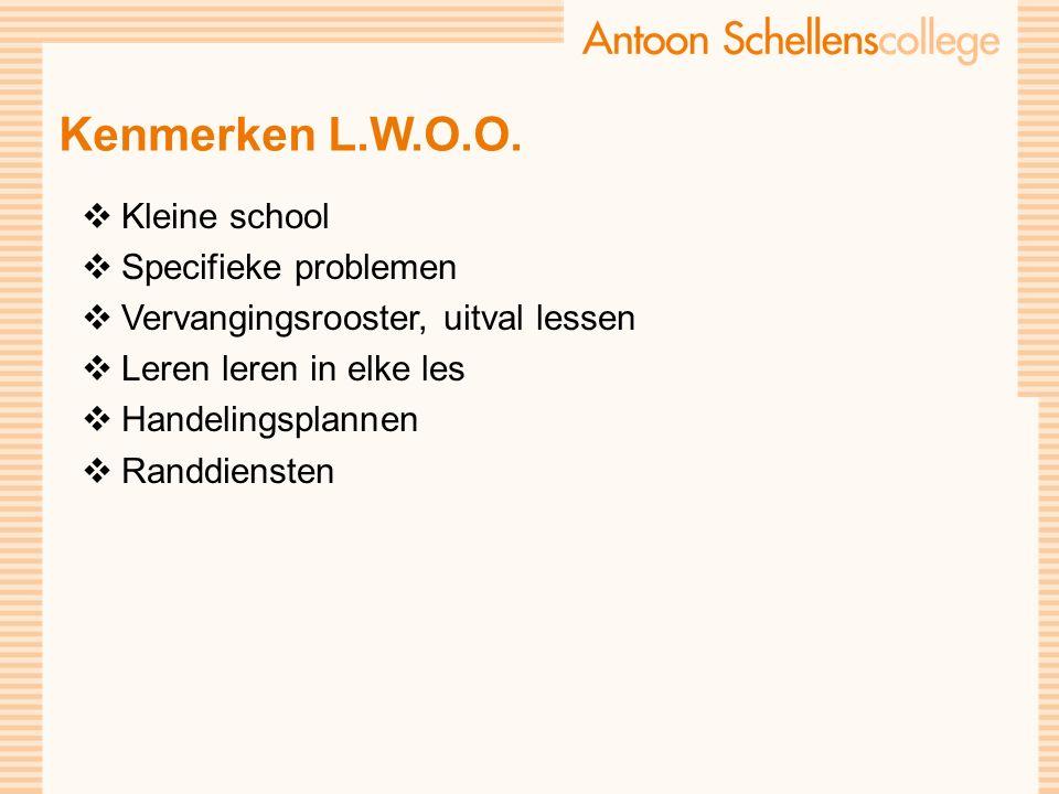Kenmerken L.W.O.O.  Kleine school  Specifieke problemen  Vervangingsrooster, uitval lessen  Leren leren in elke les  Handelingsplannen  Randdien