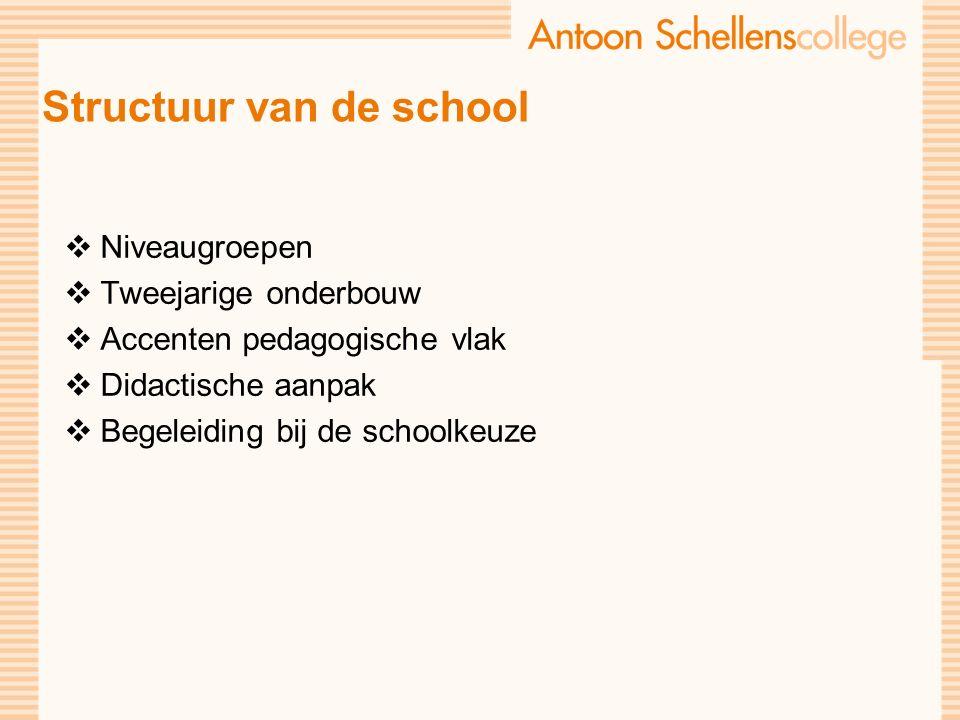 Structuur van de school  Niveaugroepen  Tweejarige onderbouw  Accenten pedagogische vlak  Didactische aanpak  Begeleiding bij de schoolkeuze