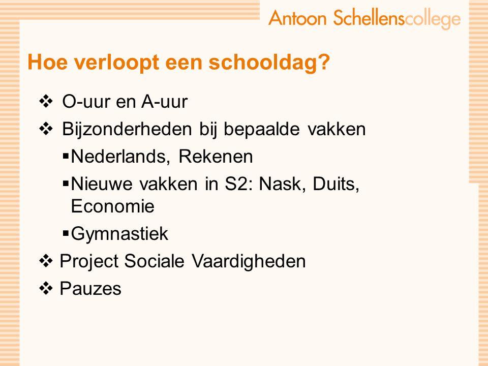 Hoe verloopt een schooldag?  O-uur en A-uur  Bijzonderheden bij bepaalde vakken  Nederlands, Rekenen  Nieuwe vakken in S2: Nask, Duits, Economie 