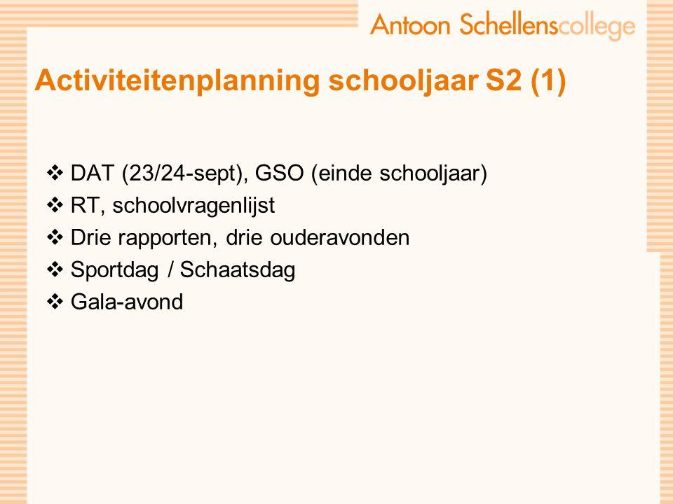 Activiteitenplanning schooljaar S2 (1)  DAT (23/24-sept), GSO (einde schooljaar)  RT, schoolvragenlijst  Drie rapporten, drie ouderavonden  Sportdag / Schaatsdag  Gala-avond