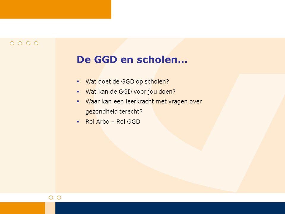 De GGD en scholen…  Wat doet de GGD op scholen?  Wat kan de GGD voor jou doen?  Waar kan een leerkracht met vragen over gezondheid terecht?  Rol A