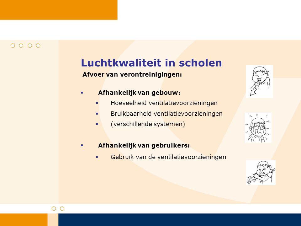 Luchtkwaliteit in scholen  Afhankelijk van gebouw:  Hoeveelheid ventilatievoorzieningen  Bruikbaarheid ventilatievoorzieningen  (verschillende systemen)  Afhankelijk van gebruikers:  Gebruik van de ventilatievoorzieningen Afvoer van verontreinigingen:
