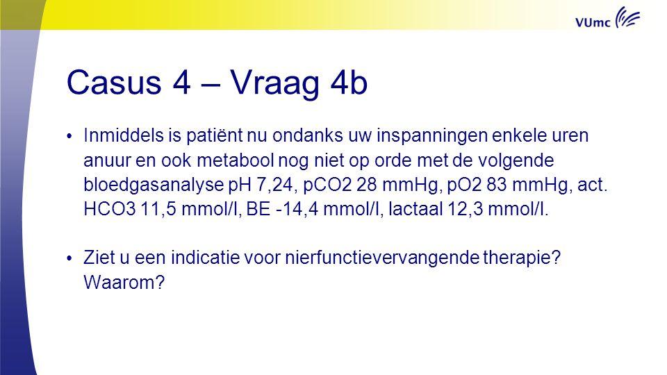 Casus 4 – Vraag 4b Inmiddels is patiënt nu ondanks uw inspanningen enkele uren anuur en ook metabool nog niet op orde met de volgende bloedgasanalyse pH 7,24, pCO2 28 mmHg, pO2 83 mmHg, act.