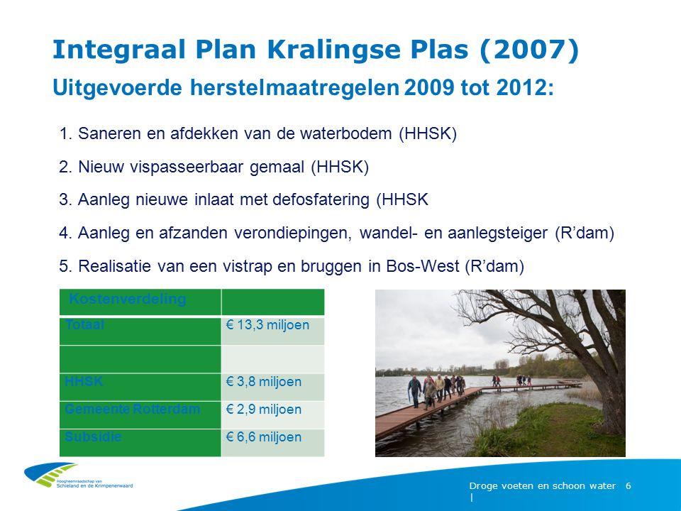 Droge voeten en schoon water | 6 Integraal Plan Kralingse Plas (2007) Uitgevoerde herstelmaatregelen 2009 tot 2012: 1. Saneren en afdekken van de wate