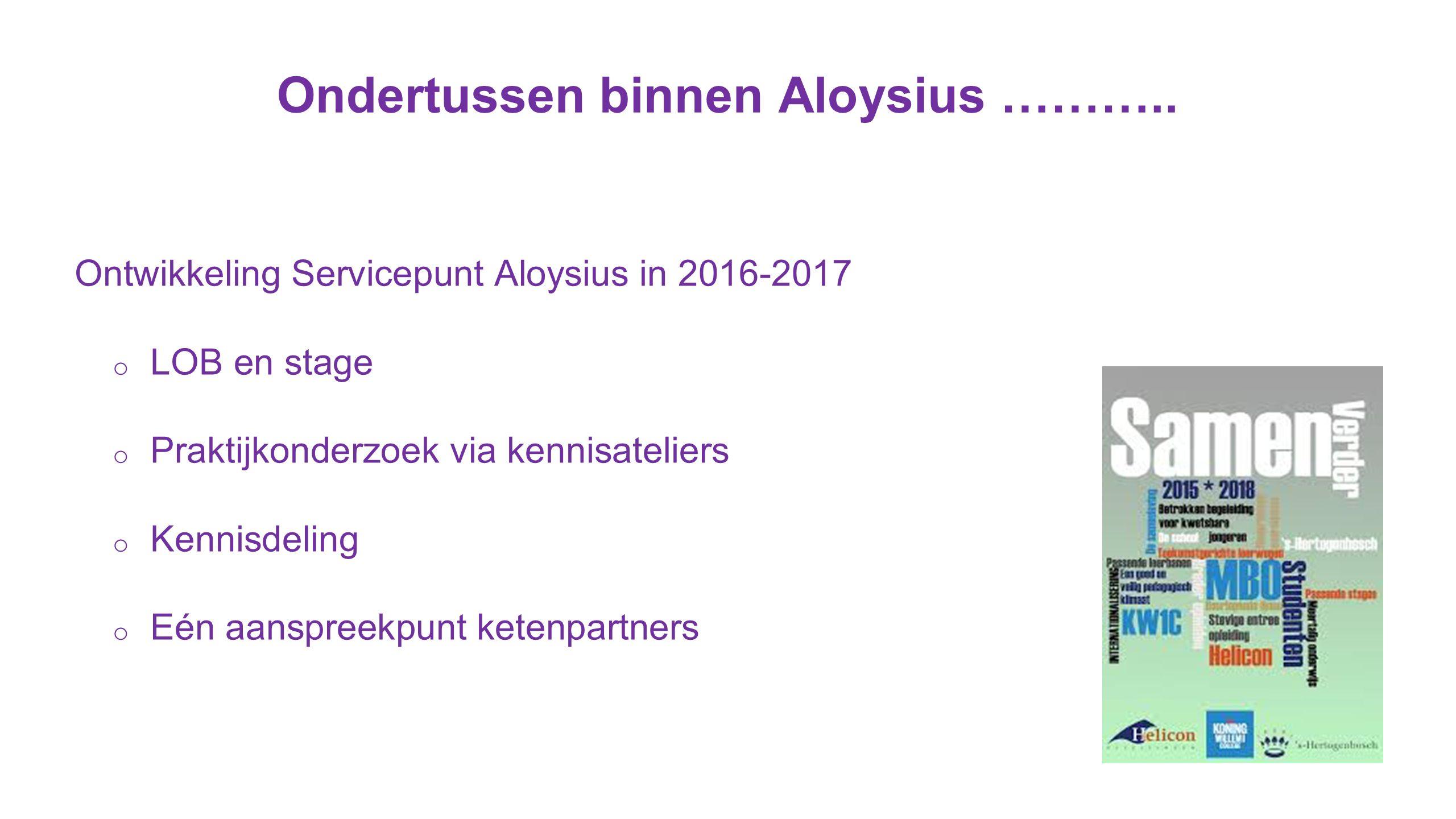 Ondertussen binnen Aloysius ………..