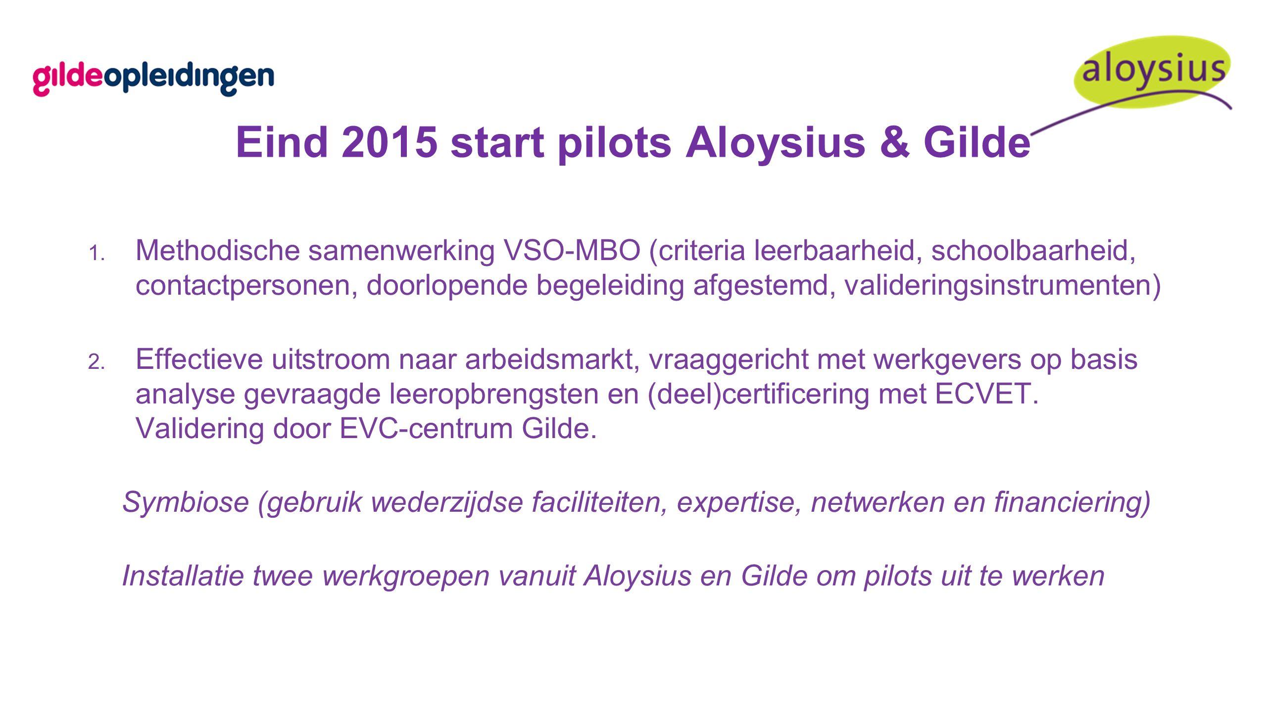 Eind 2015 start pilots Aloysius & Gilde 1.