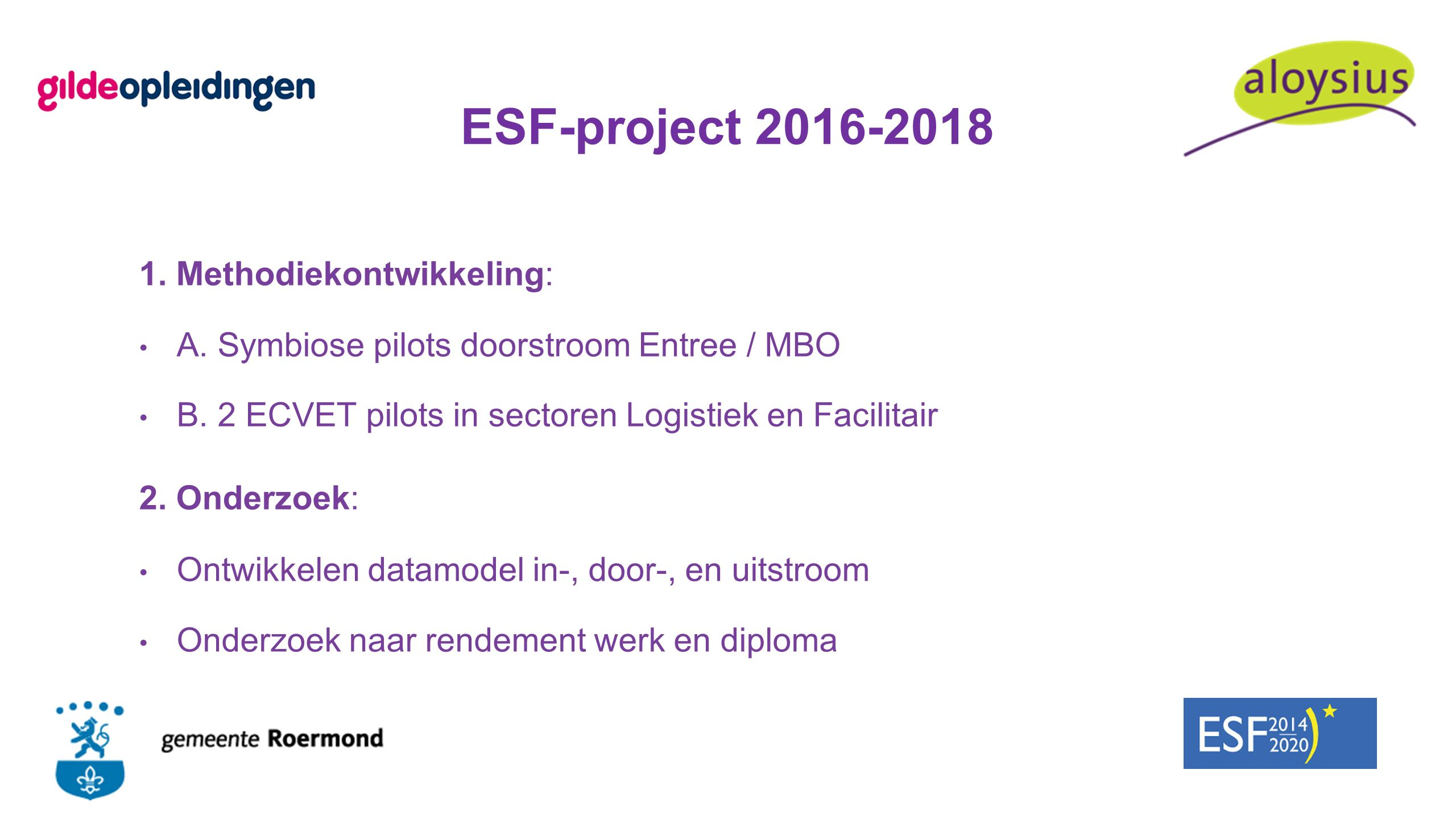 ESF-project 2016-2018 1. Methodiekontwikkeling: A. Symbiose pilots doorstroom Entree / MBO B. 2 ECVET pilots in sectoren Logistiek en Facilitair 2. On