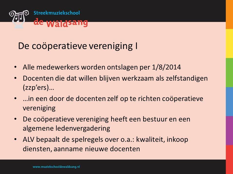 Alle medewerkers worden ontslagen per 1/8/2014 Docenten die dat willen blijven werkzaam als zelfstandigen (zzp'ers)… …in een door de docenten zelf op