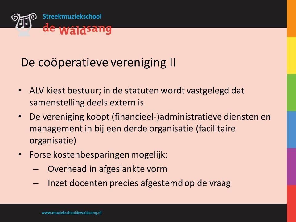 ALV kiest bestuur; in de statuten wordt vastgelegd dat samenstelling deels extern is De vereniging koopt (financieel-)administratieve diensten en mana