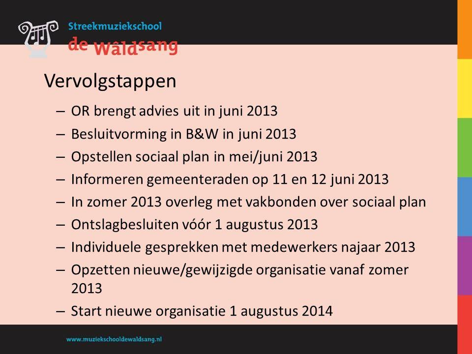 – OR brengt advies uit in juni 2013 – Besluitvorming in B&W in juni 2013 – Opstellen sociaal plan in mei/juni 2013 – Informeren gemeenteraden op 11 en