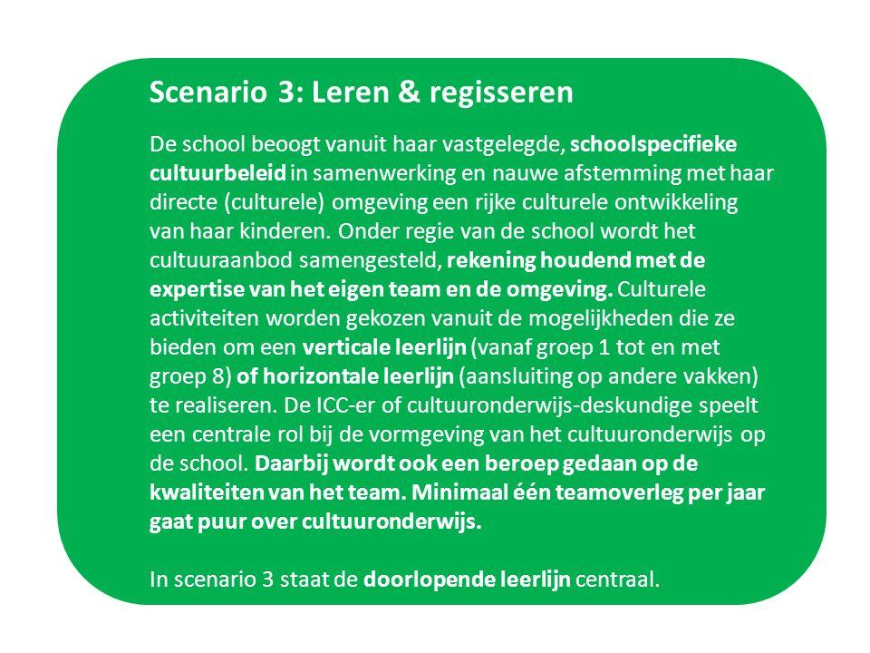 Scenario 3: Leren & regisseren De school beoogt vanuit haar vastgelegde, schoolspecifieke cultuurbeleid in samenwerking en nauwe afstemming met haar directe (culturele) omgeving een rijke culturele ontwikkeling van haar kinderen.