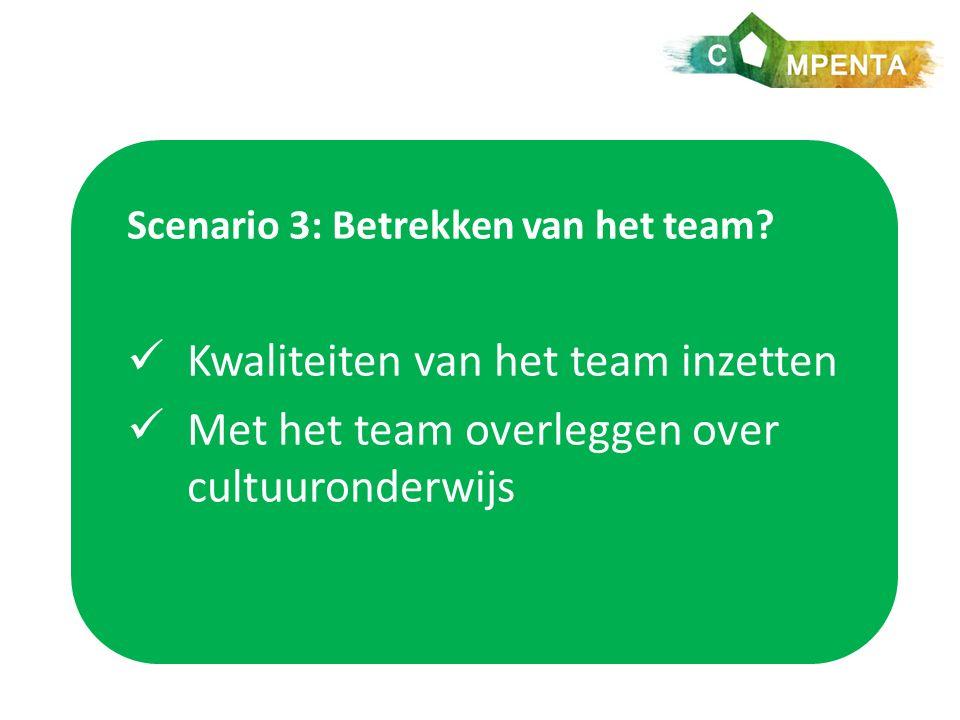 Scenario 3: Betrekken van het team.