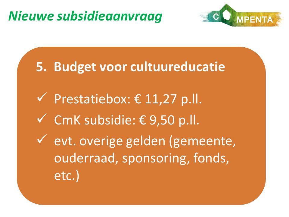Nieuwe subsidieaanvraag 5. Budget voor cultuureducatie Prestatiebox: € 11,27 p.ll.