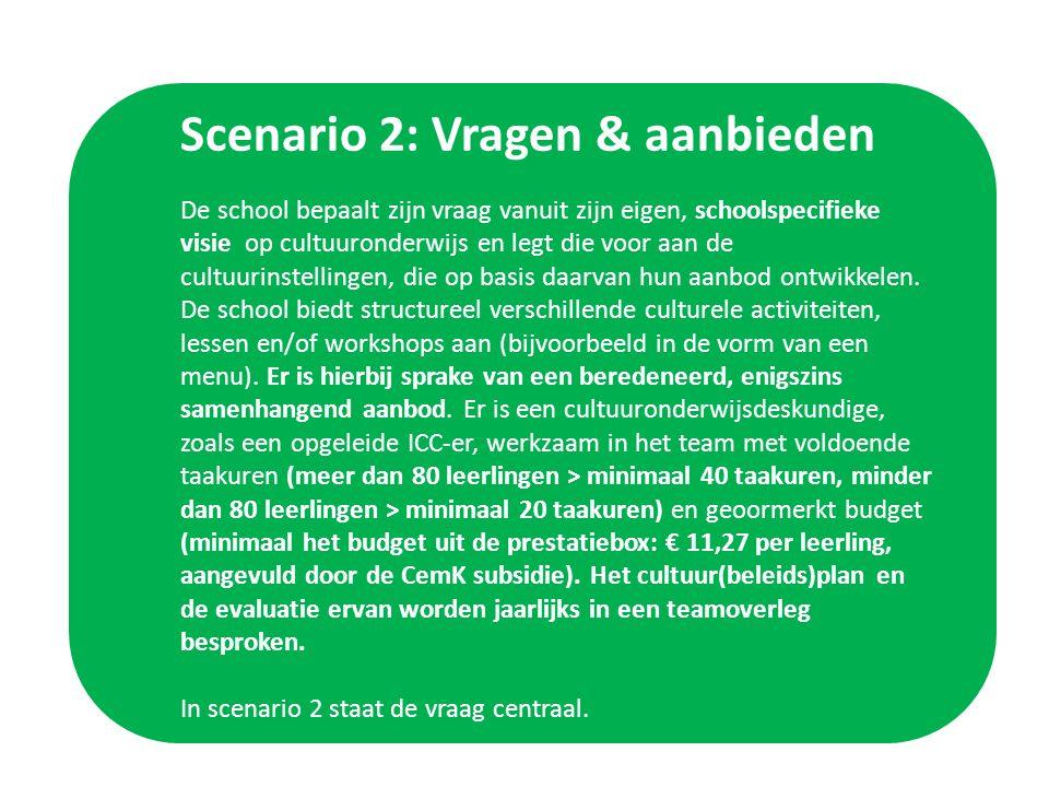 Scenario 2: Vragen & aanbieden De school bepaalt zijn vraag vanuit zijn eigen, schoolspecifieke visie op cultuuronderwijs en legt die voor aan de cultuurinstellingen, die op basis daarvan hun aanbod ontwikkelen.