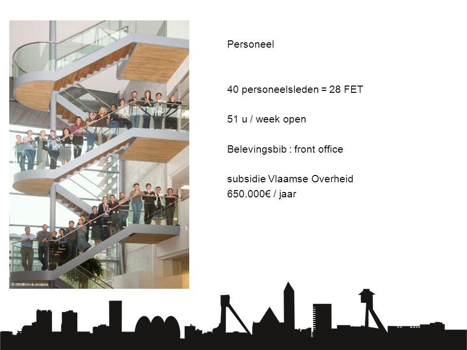 Personeel 40 personeelsleden = 28 FET 51 u / week open Belevingsbib : front office subsidie Vlaamse Overheid 650.000€ / jaar