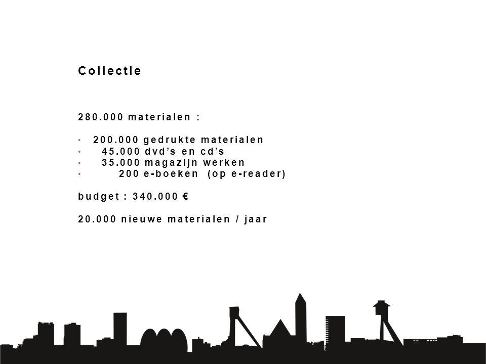 Collectie 280.000 materialen : 200.000 gedrukte materialen 45.000 dvd's en cd's 35.000 magazijn werken 200 e-boeken (op e-reader) budget : 340.000 € 20.000 nieuwe materialen / jaar