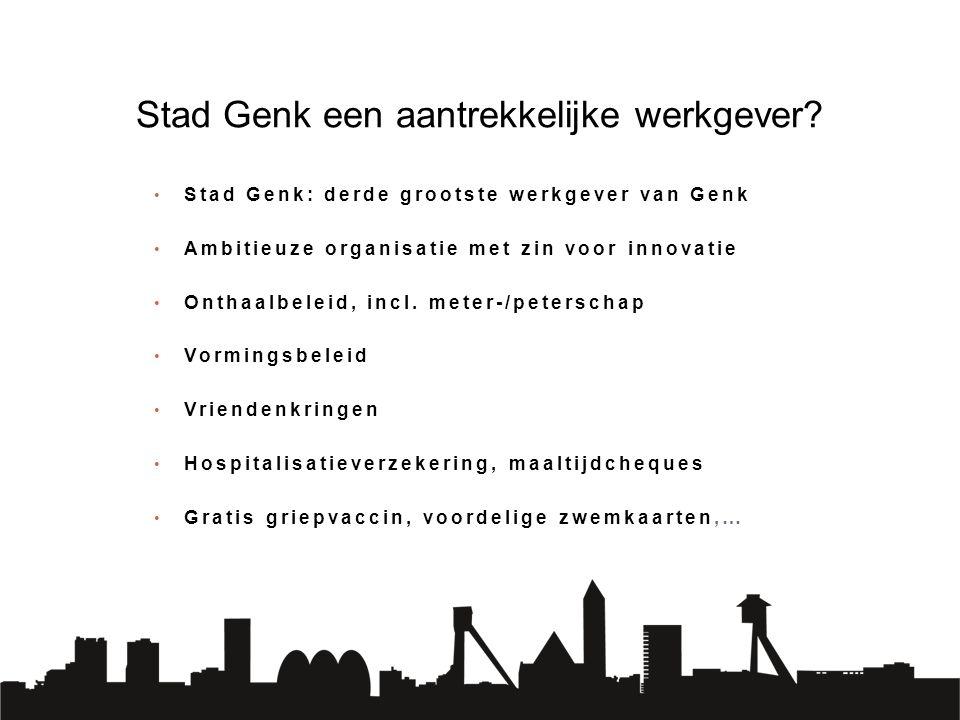 Stad Genk: derde grootste werkgever van Genk Ambitieuze organisatie met zin voor innovatie Onthaalbeleid, incl. meter-/peterschap Vormingsbeleid Vrien