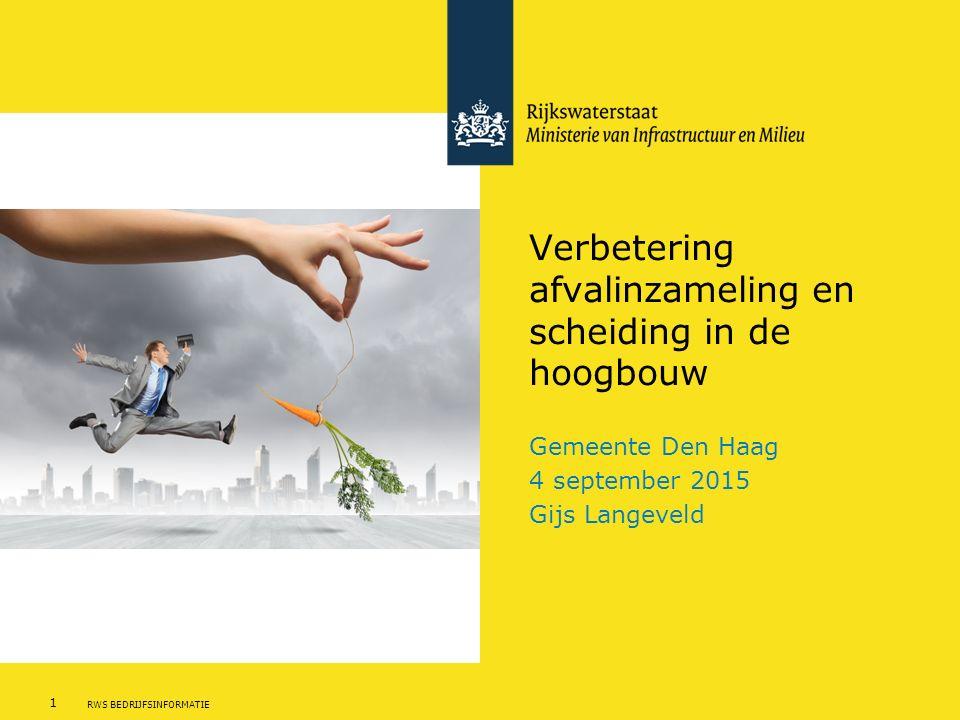 1 RWS BEDRIJFSINFORMATIE Verbetering afvalinzameling en scheiding in de hoogbouw Gemeente Den Haag 4 september 2015 Gijs Langeveld