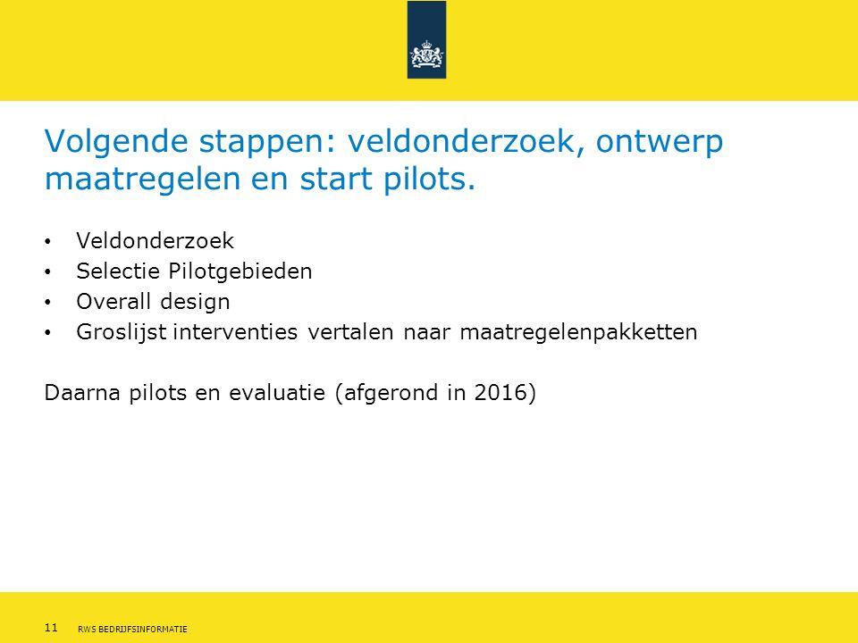 11 RWS BEDRIJFSINFORMATIE Volgende stappen: veldonderzoek, ontwerp maatregelen en start pilots.