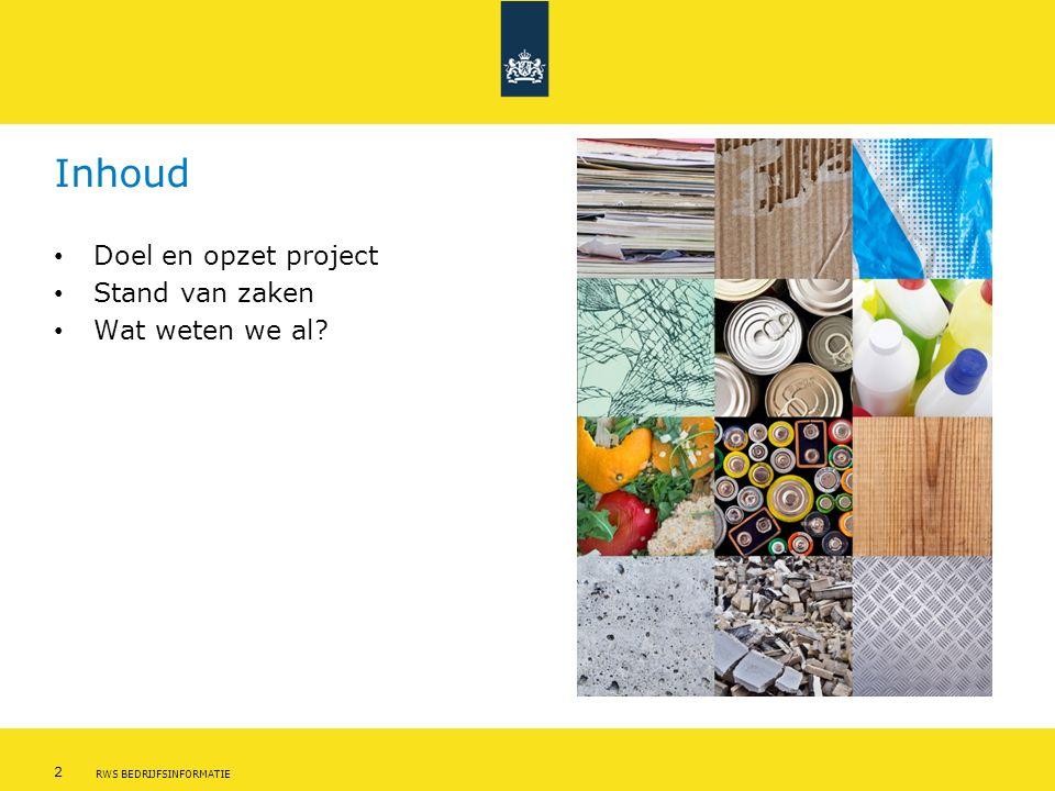 3 RWS BEDRIJFSINFORMATIE Waarom in Den Haag? In Den Haag potentie voor afval als grondstof