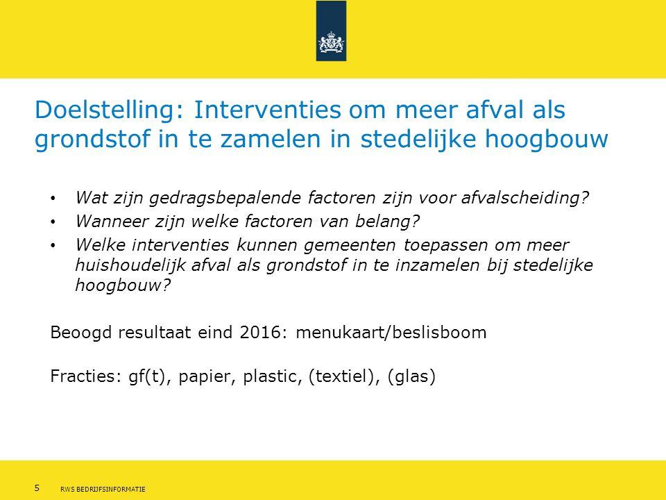 5 RWS BEDRIJFSINFORMATIE Doelstelling: Interventies om meer afval als grondstof in te zamelen in stedelijke hoogbouw Wat zijn gedragsbepalende factoren zijn voor afvalscheiding.