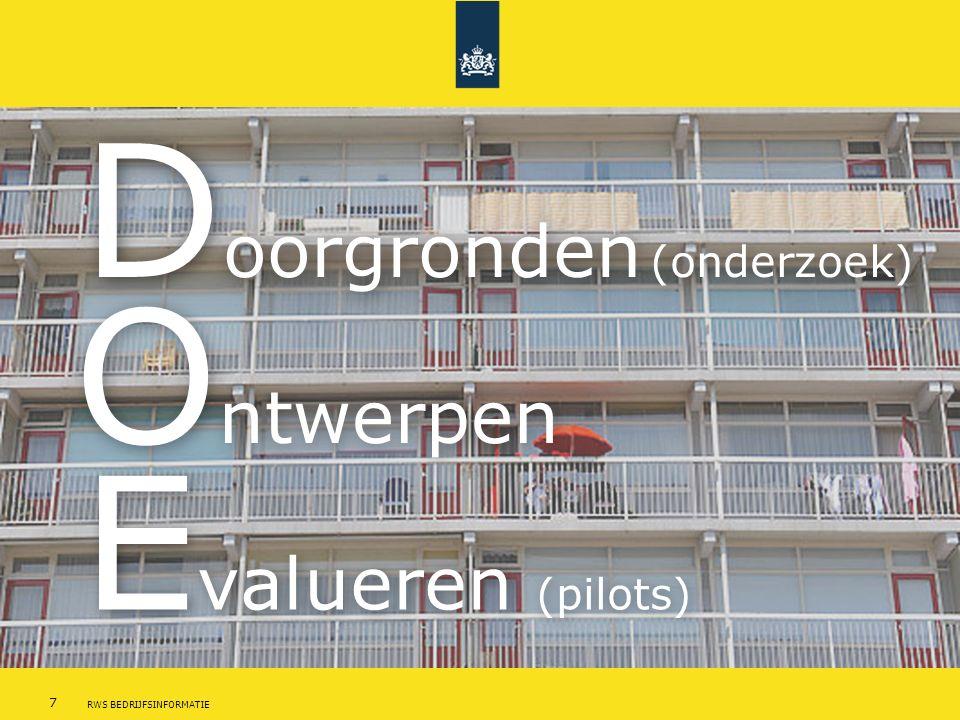 7 RWS BEDRIJFSINFORMATIE D oorgronden (onderzoek) O ntwerpen E valueren (pilots)