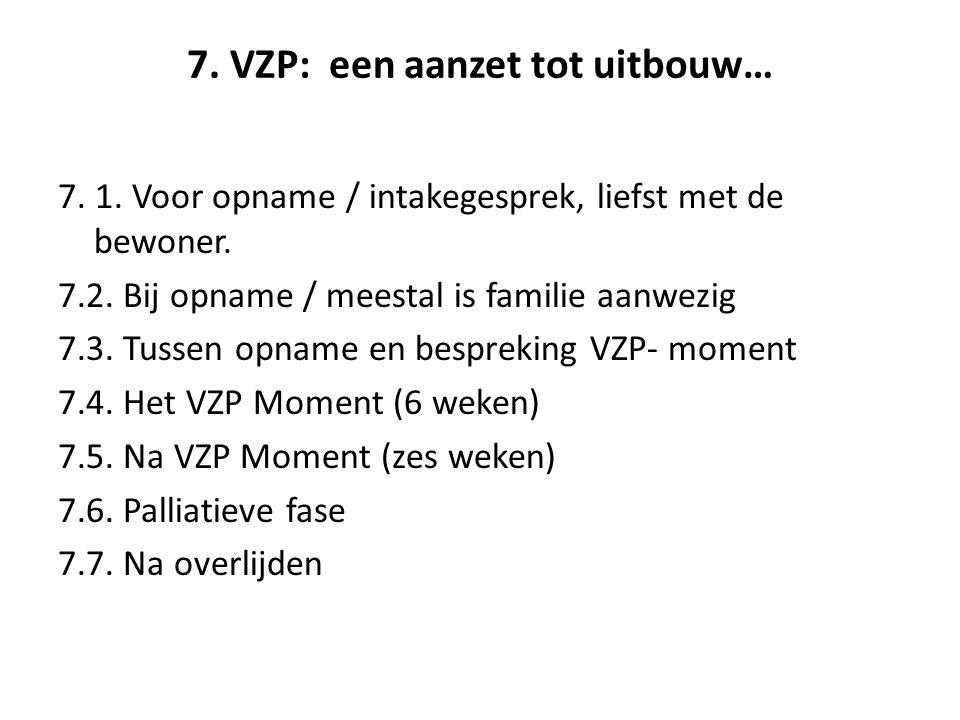 7. VZP: een aanzet tot uitbouw… 7. 1. Voor opname / intakegesprek, liefst met de bewoner.