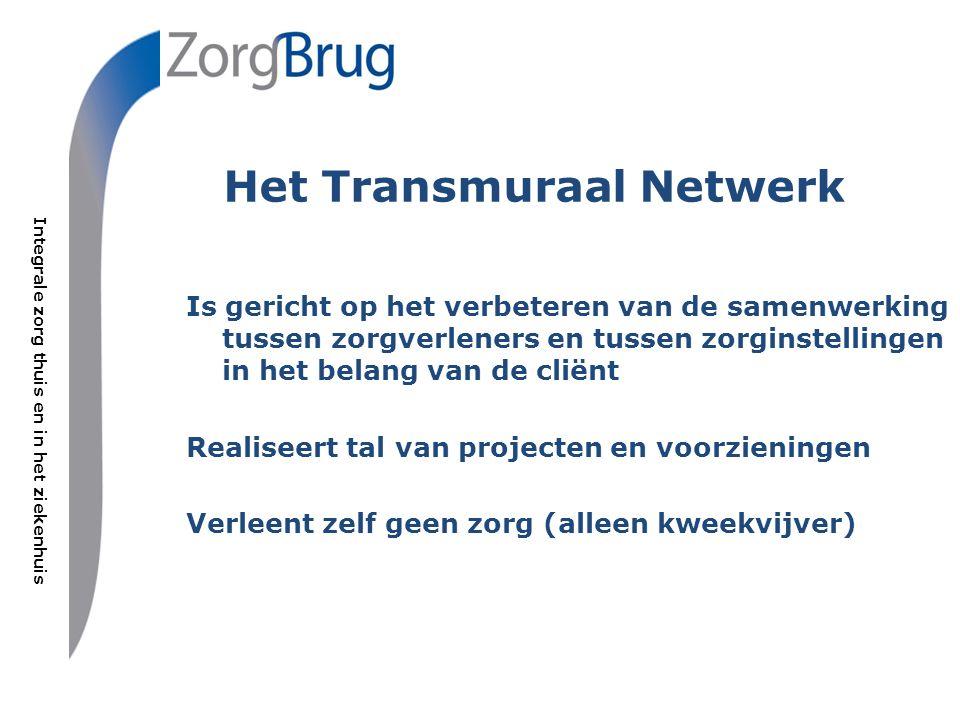 Integrale zorg thuis en in het ziekenhuis Is gericht op het verbeteren van de samenwerking tussen zorgverleners en tussen zorginstellingen in het belang van de cliënt Realiseert tal van projecten en voorzieningen Verleent zelf geen zorg (alleen kweekvijver) Het Transmuraal Netwerk